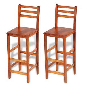 Bar Stool Sets Of 2 Vidaxl Co Uk 2 Pcs Wooden Bar Stool Set With Backrest