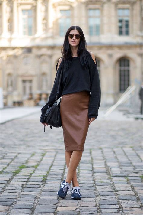 black leather pencil skirt new balance sneakers open