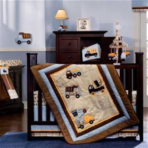 Babyboybedding 5pc Blue Beige And Brown Construction Construction Crib Bedding
