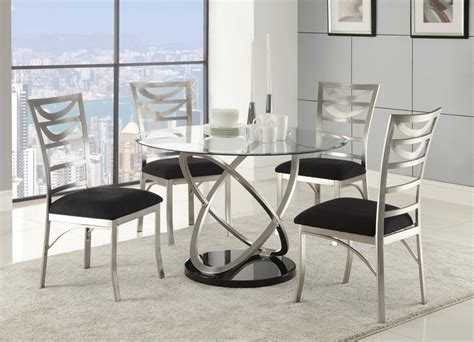 contemporary glass dining room sets 5 pc silver metal dining room set glass top microfiber