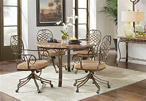 alegra metal 5 pc dining set with beige top