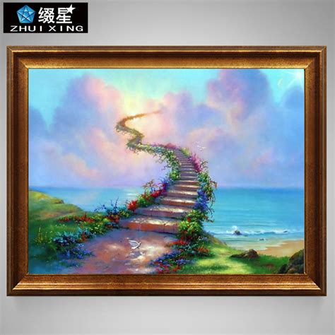 Painting Cross Stitch 7 aliexpress buy 5d diy painting beautiful ladder sky sea embroidery square