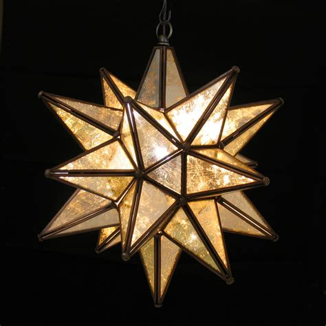 medium mirrored hanging star light rustic pendant
