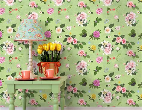 self sticking wallpaper self adhesive spring green floral wallpaper contemporary