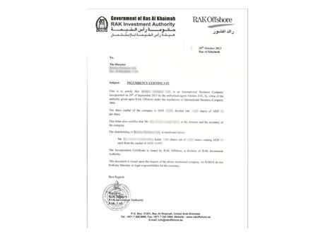 Contract Letter From Al Mazroui Center Uae United Arab Emirates Ras Al Khaimah Offshore Zones Offshore And International Gsl