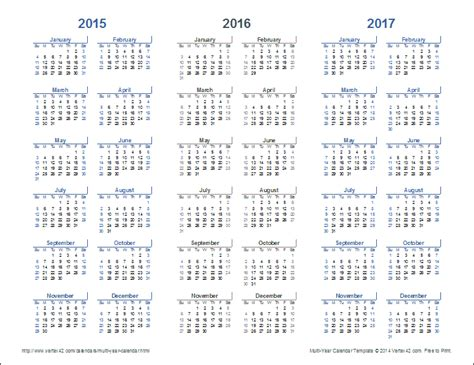 multi month calendar 2016 calendar printable 2017