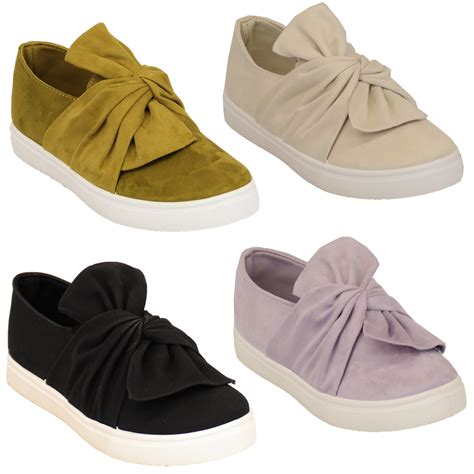 flat bow shoes suede look flat pumps womens slip on trainers flat