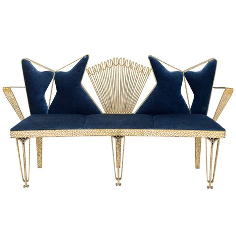 modern settee bench fine italian modern hand hammered gilt metal hall bench