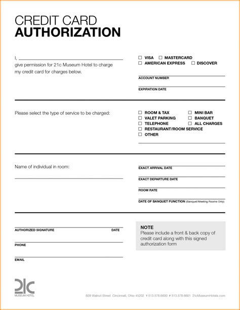 credit card donation authorization template card credit card authorization form