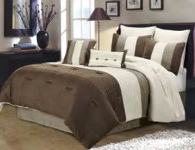 Queen Duvet Cover With Zipper Closure 8 Piece Pintuck Pleated Stripe Brown Ivory Taupe Duvet