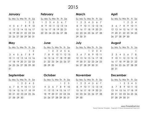 yearly calendar 2015 template printable calendars with writing space autos weblog