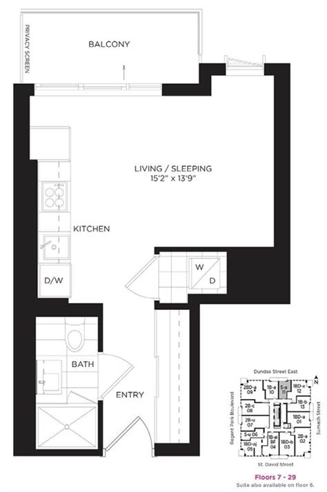 10 Park Blvd Floor Plan by 1711 55 Regent Park Blvd Studio Suite For Rent