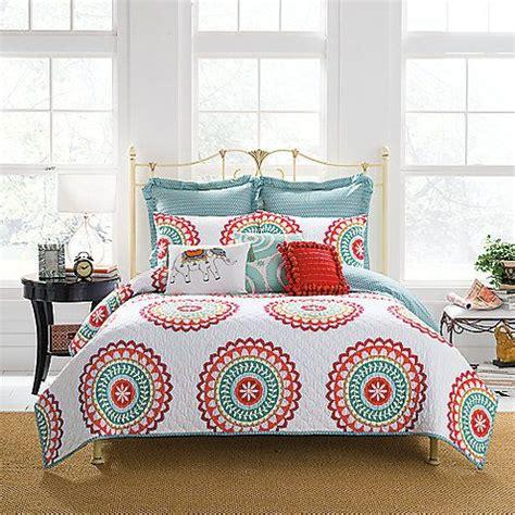 anthology bungalow comforter set anthology bungalow reversible quilt in coral white