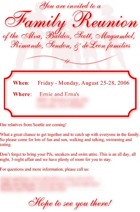 family reunion invitations letter