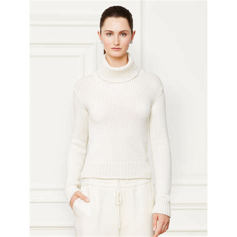 white turtleneck sweater lyst ralph lauren collection cashmere turtleneck sweater