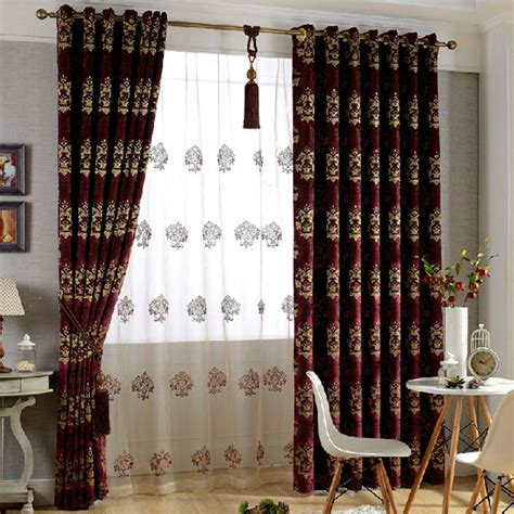 thick red curtains thick european style purplish red chenille flocking