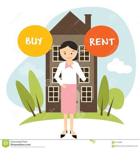 rent apartment or buy house buy or rent house home apartment woman decide vector illustration buying renting stock