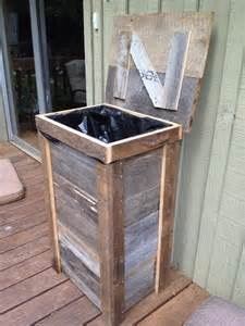Kitchen Trash Can Ideas Rustic Trash Can Designed For Outdoor Kitchen Made From Reclaimed Barnwood Project Ideas