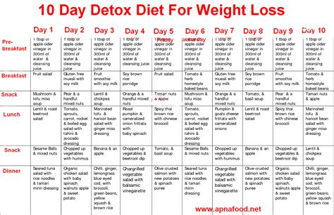 Detox Diet Menu by 10 Day Detox Diet For Weight Loss Apna Food