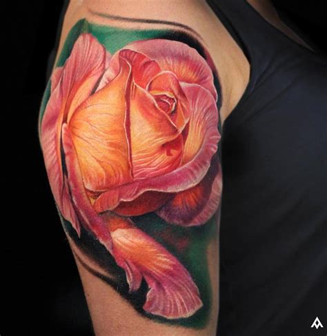 rose tattoo 3d 53 adorable vintage flower shoulder tattoos