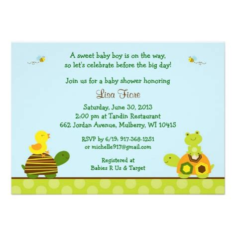 Frog Baby Shower Invitations frog turtle duck baby shower invitations zazzle