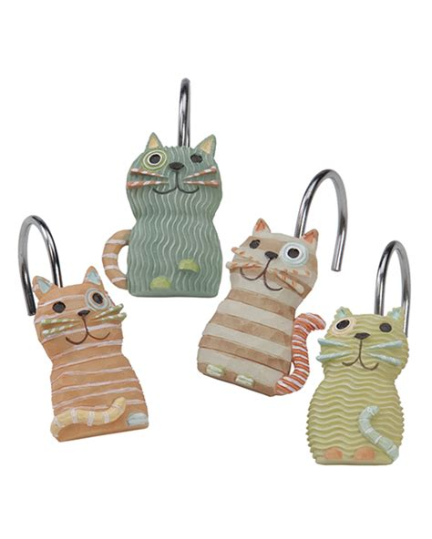Whimsical Meow Kitty Cats Resin Bath Shower Curtain Hooks