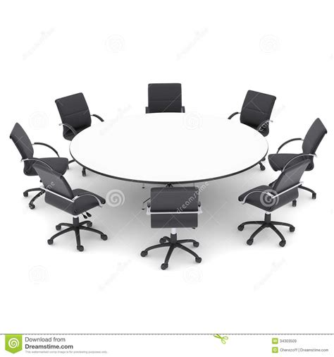Circular Dining Room office chairs and round table royalty free stock images