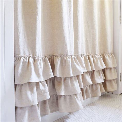linen ruffle curtain ruffle shower curtain triple ruffle shower curtain handmade