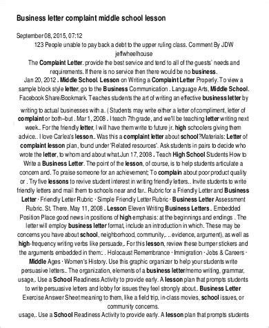 business letter lesson plan middle school 22 complaint letters in pdf
