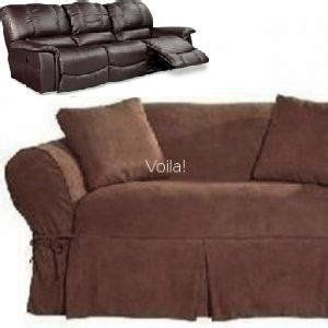 Dual Reclining Sofa Couch Slipcover Suede Chocolate Brown Sure Fit Reclining Sofa Slipcover