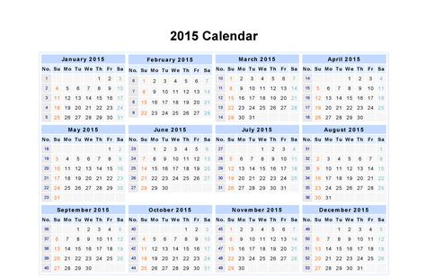 Calendar Week 2015 Day Weekly Monthly Calendar Of Year 2015