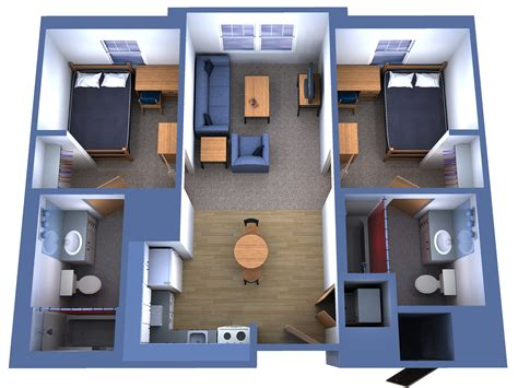 Two Bedroom apartment with two bedrooms and two bathrooms