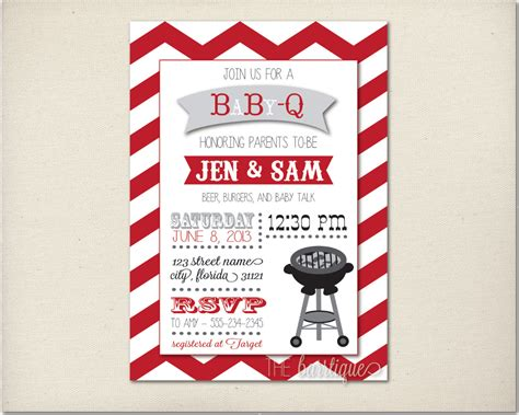 Baby Q Shower Invitations by Babyq Babycue Baby Q Shower Invitations Personalized Digital