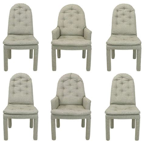 Fully Upholstered Dining Room Chairs Six Fully Upholstered Arch Back Dining Chairs Attr Milo Baughman At 1stdibs