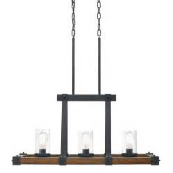 Kitchen Lighting Fixtures Lowes Kichler Lighting Barrington 32 01 In W 3 Light Distressed Black And Wood Standard Kitchen Island