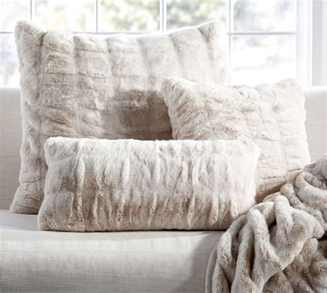 ruched faux fur pillow cover ivory pottery barn