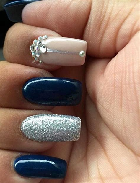 Nail Designs For Navy Blue Dress navy blue silver and acrylic nails nails