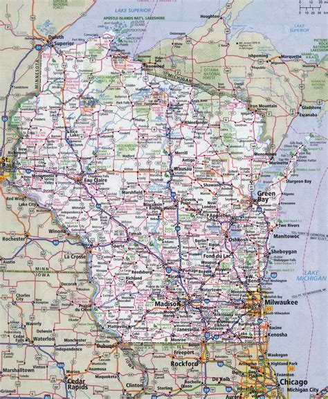 wisconsin on us map large detailed roads and highways map of wisconsin state