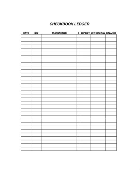 bank ledger template printable check register sle 9 exles in pdf word