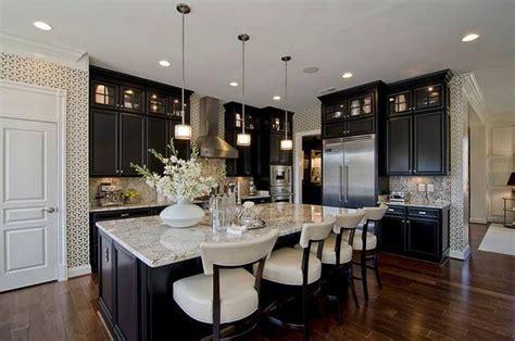 dark cabinets with light granite kitchens pinterest