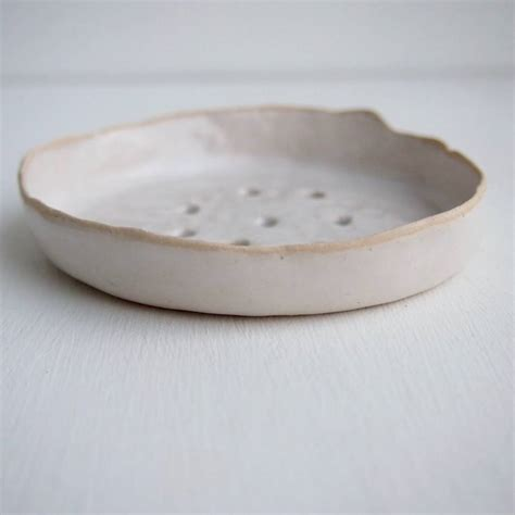 handmade white ceramic soap dish by kabinshop