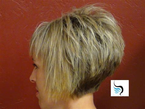 a frame haircuts short and high stacked short stacked bob hairstyles back view for fine hair