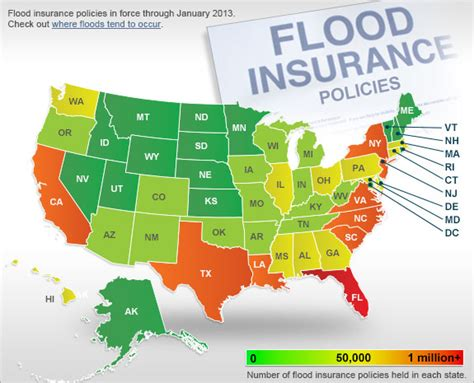 Map: Flood Insurance Policies, State By State   Bankrate.com
