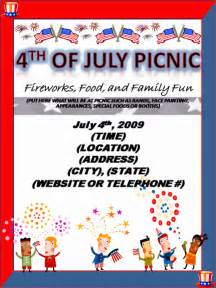 4th of july invitation templates invitation for picnic on 4th of july