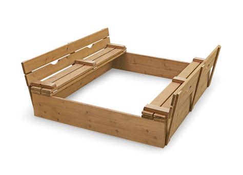 wooden sandbox with bench amazon com badger basket covered convertible cedar sandbox with bench seats natural