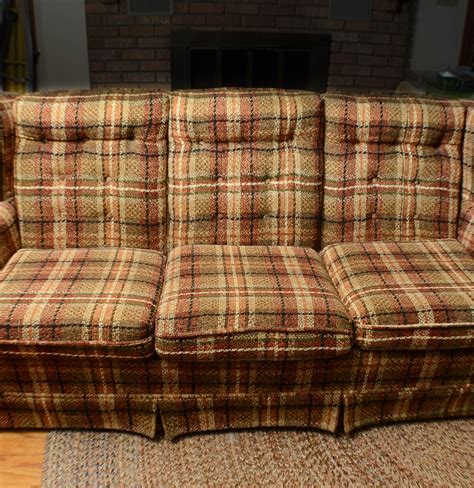 Plaid Country Sofa Ebth