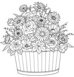 blank coloring pages for adults flower basket blank coloring pages