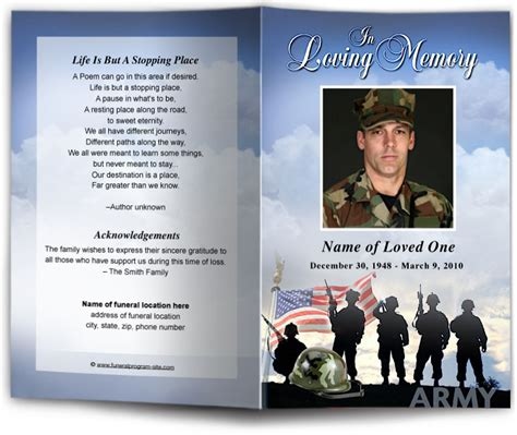 Army Military Single Fold Funeral Program Template Design Memorial Service Bulletin Phlet Free Patriotic Funeral Program Template