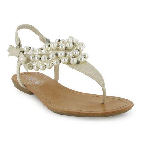 pearl sandals flat patent pearl flat sandals new sizes 3 8 uk ebay