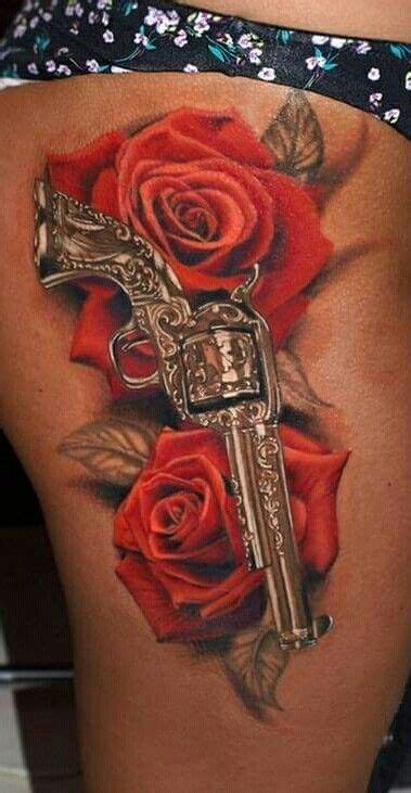 rose gun tattoo gun roses tattoos guns